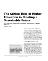 The Critical Role of Higher Educaction in Creating a Sustainable Future